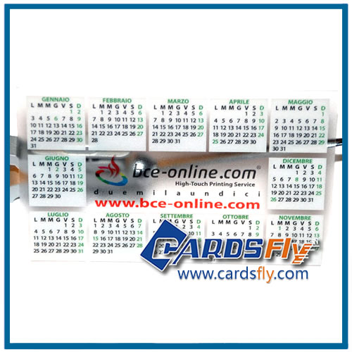 clear pvc card with calendar
