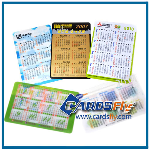 plastic card with calendar